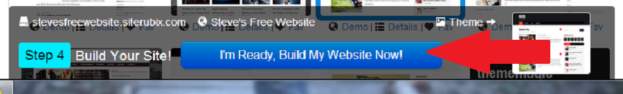 "Click on ""I'm Ready, Build My Website Now!"""