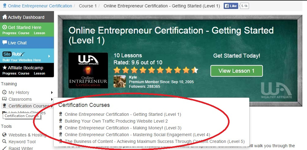 Wealthy Affiliate Review Certification