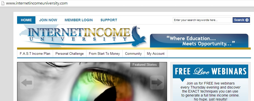 Internet Income University webpage