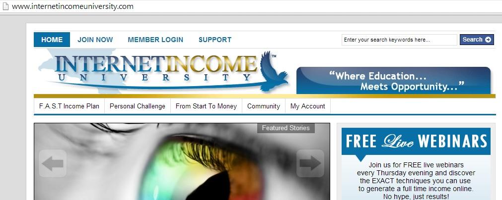 Internet Income University webpage