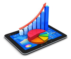 Mobile finance and statistics concept